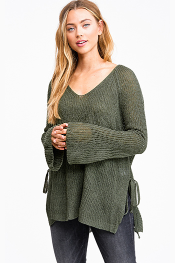$15 - Cute cheap boho crochet long sleeve top - Dark olive green knit long bell sleeve side slit tie boho sweater top