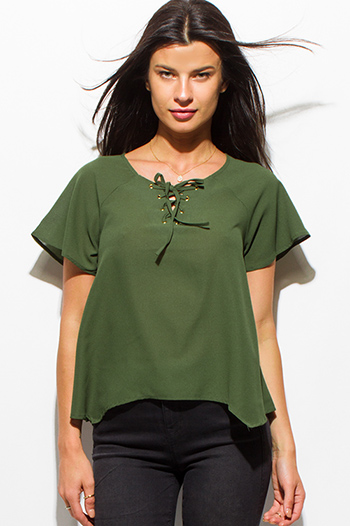 $10 - Cute cheap satin high neck top - dark olive green laceup v neck short sleeve sexy party blouse top