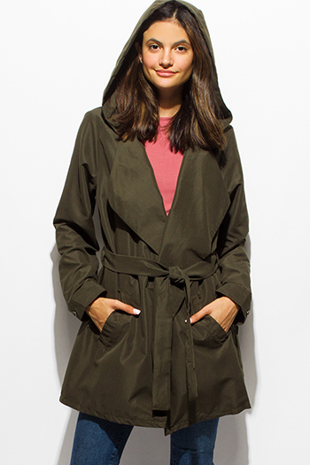 $25 - Cute cheap dark olive green long sleeve foldover collar pocketed hooded open front trench coat jacket