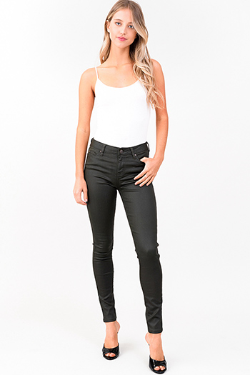 $20 - Cute cheap denim jeans - dark olive green metallic denim mid rise coated skinny jeans