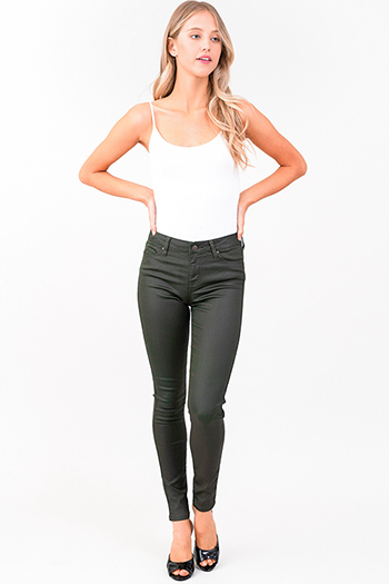 $14 - Cute cheap blue washed denim mid rise distressed destroyed chewed hem ankle fit skinny jeans - dark olive green metallic denim mid rise coated skinny jeans