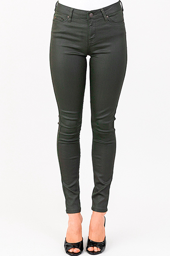 $14 - Cute cheap olive cargo green mid rise double side seam fitted skinny pants - dark olive green metallic denim mid rise coated skinny jeans