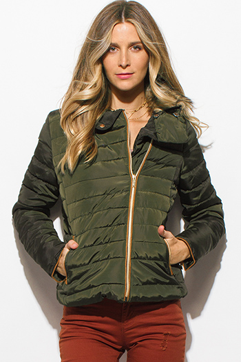 $35 - Cute cheap asymmetrical blouse - dark olive green quilted faux fur lined asymmetrical zip up puffer bomber jacket