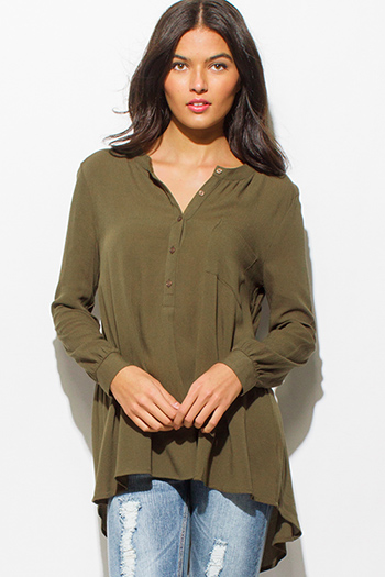 $15 - Cute cheap gauze cotton crochet top - dark olive green rayon gauze long sleeve indian collar high low hem button up blouse top