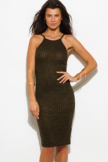 $10 - Cute cheap dark olive green ribbed knit halter spaghetti strap racer back fitted bodycon sweater midi dress
