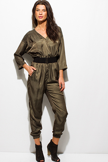 $10 - Cute cheap beige wide leg jumpsuit - dark olive green satin long sleeve faux wrap belted pocketed harem jumpsuit