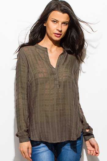 $15 - Cute cheap sheer slit boho top - dark olive green semi sheer rayon gauze long sleeve indian collar high low hem blouse top