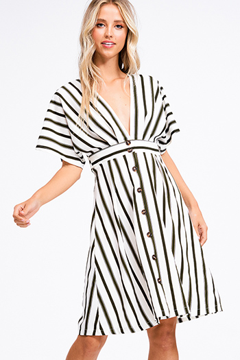 $18 - Cute cheap print backless sun dress - Dark olive green striped v neck short dolman sleeve tie waist button up a line boho midi dress