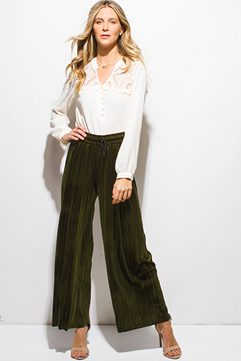$15 - Cute cheap distressed mocha faux leather stripe banded waisted pleated sexy club mini skirt 88022 - dark olive green velvet pleated drawstring high waisted wide leg boho culotte pants