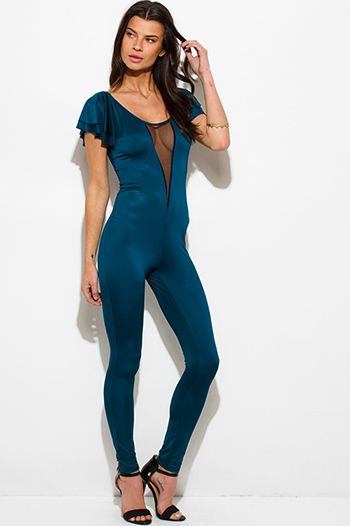 $10 - Cute cheap ruffle fitted catsuit - dark teal blue mesh inset flutter sleeve backless fitted bodycon sexy party catsuit jumpsuit