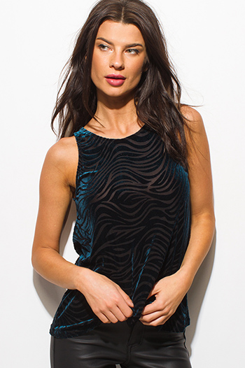 $10 - Cute cheap ruffle sheer sexy party top - dark teal blue velvet animal print burnout keyhole back party tank top