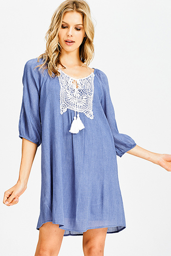 $15 - Cute cheap babydoll cocktail midi dress - denim blue crochet applique quarter blouson sleeve tassel tie boho peasant mini dress