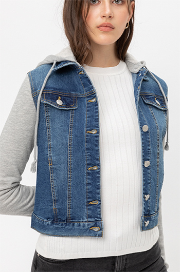 $29.75 - Cute cheap non stretch shearling collar denim jacket 100cotton - Denim Hoodie Layered Button Down Jacket