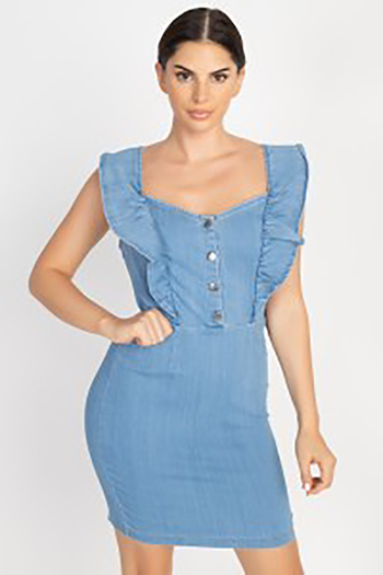 $27.00 - Cute cheap shirring strapless rayon spandex knit mini dress - Denim Ruffle Strap Mini Dress
