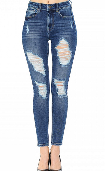 $22.50 - Cute cheap blue washed denim mid rise distressed destroyed chewed hem ankle fit skinny jeans - destroyed acid wash denim pants