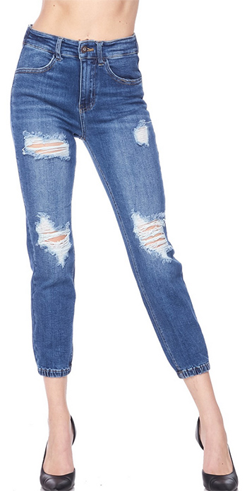 $21.50 - Cute cheap destructed denim jogger in vinage