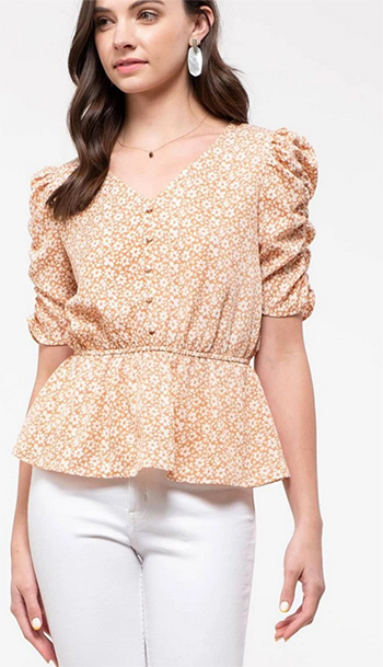 $15.25 - Cute cheap square necksolid puff top - disty floral peplum top
