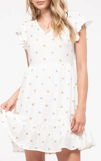 $25.25 - Cute cheap butterfly ruched open back mini dress - dot print baby doll dress