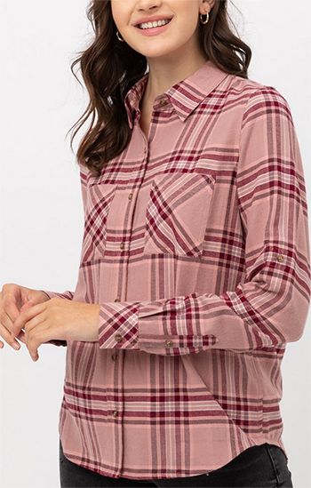 $19.50 - Cute cheap double pocket on the front basic plaid shirt