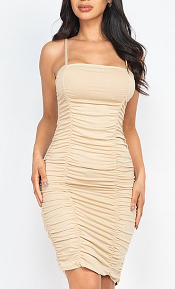 $22.50 - Cute cheap double ruched front and ruched back detail mini dress