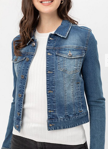 $24.50 - Cute cheap dstressed button up stretchy cotton denim jacket