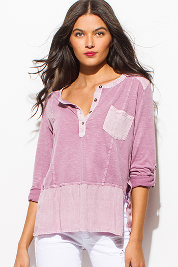 $15 - Cute cheap purple chiffon boho top - dusty berry pink color block high low hem long sleeve boho top