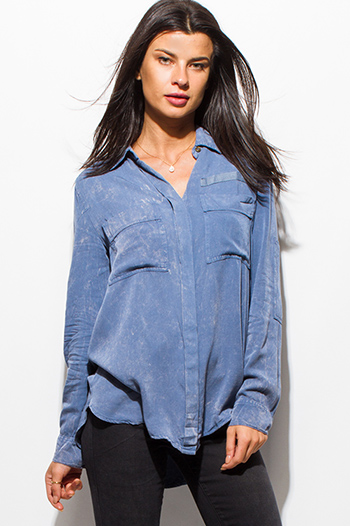 $20 - Cute cheap royal blue button front high low tank top 83108.html - dusty blue acid wash tie dye elbow patch button up boho blouse top