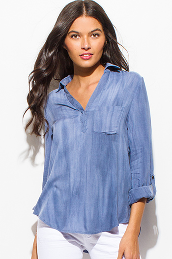 $15 - Cute cheap blue stripe ruffle cold shoulder button up boho blouse top - dusty blue acid wash tie dye long sleeve indian collar boho blouse top