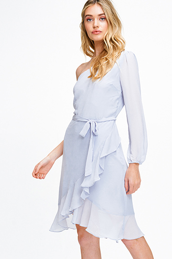$18 - Cute cheap print slit evening dress - Dusty blue chiffon one shoulder long sleeve belted ruffled cocktail sexy party midi dress