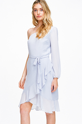 $12 - Cute cheap print boho midi dress - Dusty blue chiffon one shoulder long sleeve belted ruffled cocktail sexy party midi dress