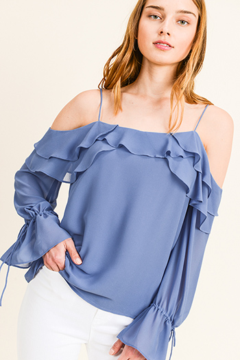 $15 - Cute cheap blue chambray blouse - Dusty blue chiffon ruffled cold shoulder long bell sleeve blouse top