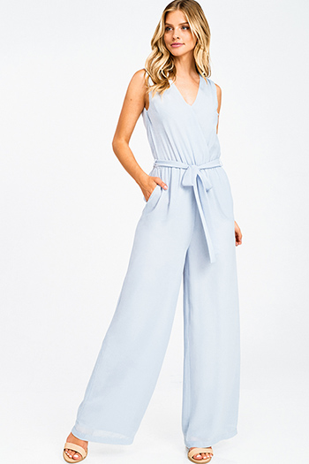 $20 - Cute cheap blue washed denim low rise pearl studded distressed frayed chewed hem boho skinny jeans - Dusty blue chiffon sleeveless surplice tassel tie back wide leg pocketed boho evening jumpsuit
