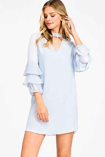 $20 - Cute cheap v neck slit jumpsuit - Dusty blue chiffon tiered long sleeve choker cut out mock neck cocktail sexy party mini dress
