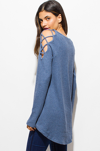 $15 - Cute cheap cotton boho crop top - dusty blue cotton cut out caged cold shoulder long sleeve boho tunic top