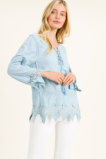 $15 - Cute cheap white houndstooth textured cut out twist knot cold shoulder long sleeve boho blouse top - Dusty blue cotton embroidered laceup front scallop crochet lace hem boho blouse top