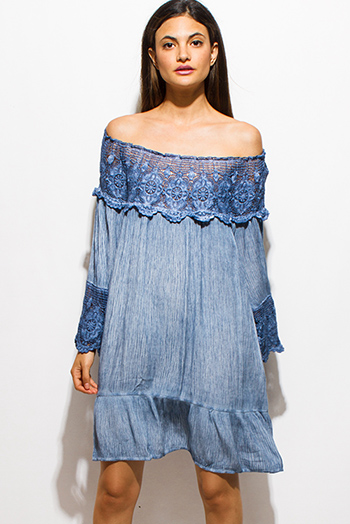 $20 - Cute cheap ruffle boho sun dress - dusty blue crochet lace off shoulder quarter sleeve tiered boho swing midi dress