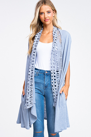 $20 - Cute cheap wide leg pocketed jumpsuit - Dusty blue crochet lace trim waterfall draped neck pocketed boho duster cardigan