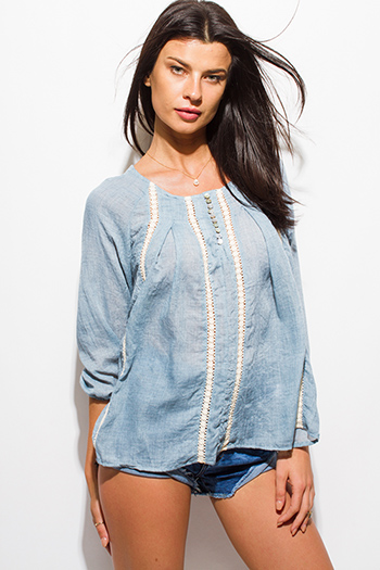 $15 - Cute cheap blue sheer sexy party top - dusty blue crochet trim quarter sleeve boho peasant blouse top