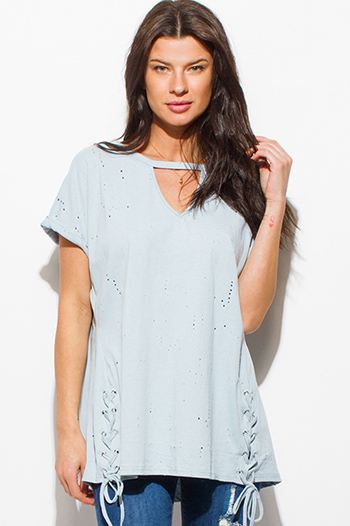 $15 - Cute cheap clothes - dusty blue cut out distressed laceup cuffed short sleeve tee shirt top