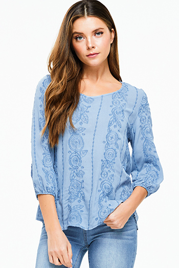 $18 - Cute cheap blue sexy party catsuit - Dusty blue embroidered quarter sleeve keyhole back boho peasant blouse top