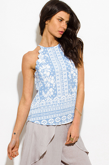 $15 - Cute cheap light gray cut out caged fringe trim spaghetti strap boho swing tank top - dusty blue floral abstract print scallop trim halter racer back boho tank top