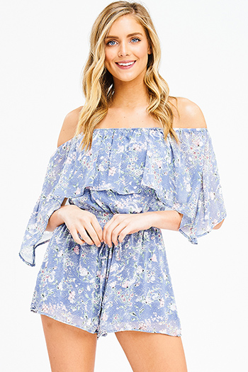 $20 - Cute cheap olive green satin off shoulder crochet trim boho romper playsuit jumpsuit - dusty blue floral print chiffon ruffle tiered off shoulder boho romper playsuit jumpsuit