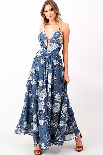$30 - Cute cheap ruched evening maxi dress - Dusty blue floral print chiffon sleeveless sweetheart neck backless maxi skirt evening jumpsuit