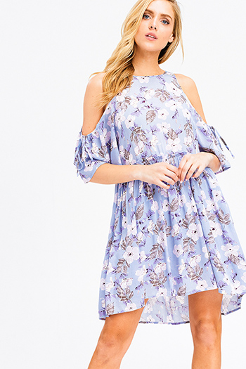 $20 - Cute cheap boho quarter sleeve top - Dusty blue floral print cold shoulder short sleeve keyhole cut out back boho mini sun dress