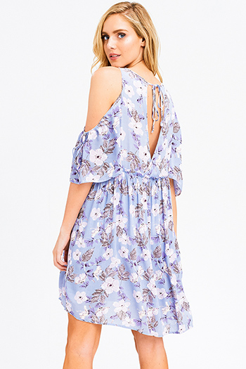 $15 - Cute cheap chambray ruffle dress - Dusty blue floral print cold shoulder short sleeve keyhole cut out back boho mini sun dress