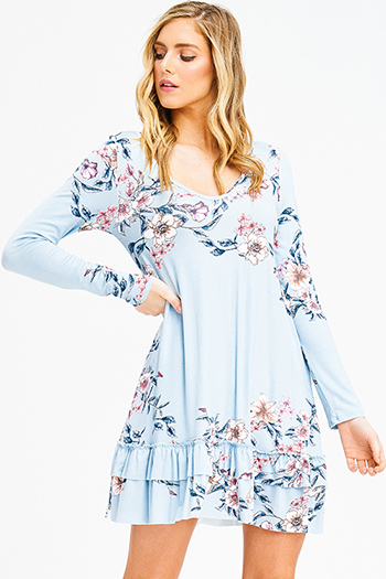 $15 - Cute cheap lace backless cocktail dress - dusty blue floral print long sleeve ruffle hem cut out back boho sexy party mini dress