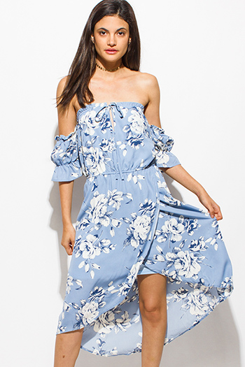 $20 - Cute cheap crochet open back mini dress - dusty blue floral print off shoulder surplice faux wrap boho sexy party midi sun dress