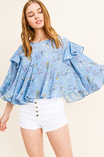 $15 - Cute cheap print sheer sexy party blouse - Dusty blue floral print ruffled bell sleeve back slit boho blouse top