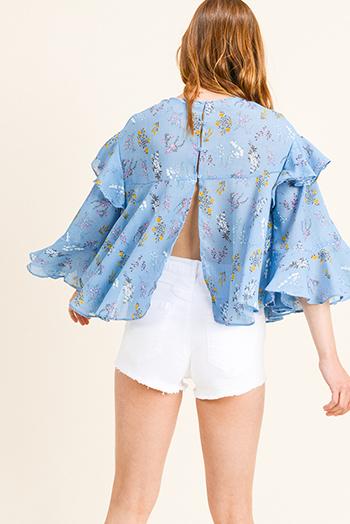 $11 - Cute cheap yellow black floral print sheer mesh off shoulder long trumpet bell sleeve crop top - Dusty blue floral print ruffled bell sleeve back slit boho blouse top
