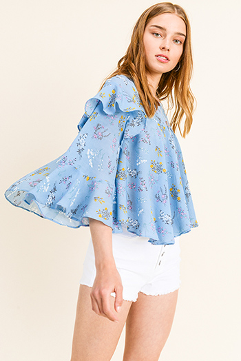 $15 - Cute cheap navy blue floral print long bell sleeve ruffle tiered top pants boho resort two piece set - Dusty blue floral print ruffled bell sleeve back slit boho blouse top
